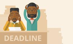 Two stressed african-american employees Stock Illustration