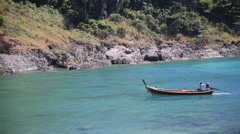 Longtail wooden boat ocean Thailand Stock Footage