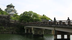 Osaka Castle Beyond the Bridge  - stock footage