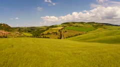 Typical landscape of the Val d'Orcia in Tuscany, Italy. Aerial view - stock footage