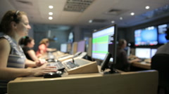 TV studio control room track right Stock Footage
