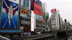 Various name boards of resturants at Dotonbori street in Osaka Stock Footage