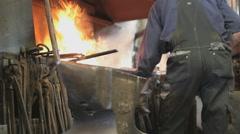 Blacksmith Forges Metal, Smithwork Stock Footage
