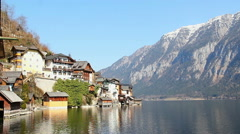 Silent place for recreation in mountains, view of Alpine village Stock Footage