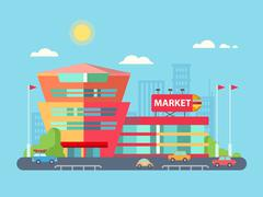 Supermarket Building Facade with Parking in front of it Flat Design Stock Illustration