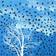 Flock of crows over white tree - stock illustration