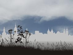 Fog and skyline of the historic city Stock Illustration