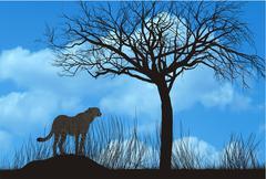 Cheetah under tree Stock Illustration