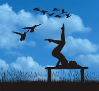 Yoga in Nature and Mallards - stock illustration