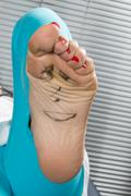 Happy and funny couple summer foot Stock Photos
