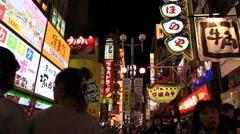 People walking around at Dotonbori street in Osaka, Japan Stock Footage