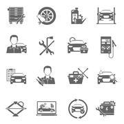 Auto Mechanic Icons Set - stock illustration