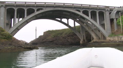 Point of View in Boat Under Bridge - stock footage