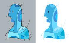 Stock Illustration of Blue Man Art