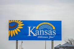 Welcome to kansas state road  sign Stock Photos