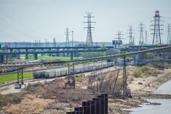 Stock Photo of Kansascity  USA freight trains