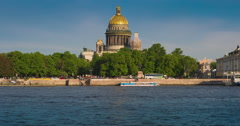 View Saint Isaac's Cathedral in Saint Petersburg from Neva river. Russia Stock Footage