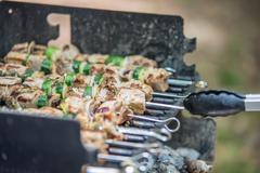 steak shishkabob skewers with vegitables cooking on flaming grill - stock photo