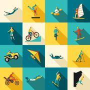 Extreme Sports Flat Icons Set - stock illustration