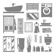 Bathroom Furniture Icons - stock illustration
