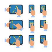 Touchscreen gestures icons set Stock Illustration