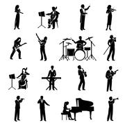 Musicians Icons Black Stock Illustration