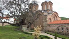 Walk POV to old monastery and ancient church complex in Lesnovo, Macedonia. U Stock Footage