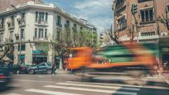 People crossing Tsimiski street, Thessaloniki, Greece. Stock Footage