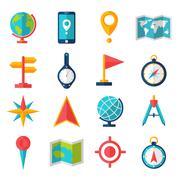 Cartography Flat Icon Set Stock Illustration