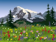 Landscape summer alpine medow poster Stock Illustration