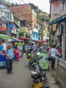 Poor Town in Medellin Colombia - stock photo
