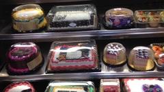 Cake Shelves In Supermarket Stock Footage