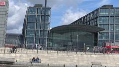 Passing Berlin Main Railway Station, bike foreground Stock Footage