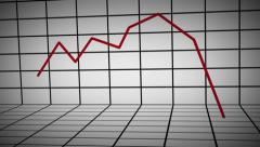 Animated 3D Line Chart DOWN Stock Footage
