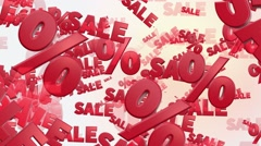 Sale and percents in red Stock Footage
