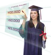 Female Graduate Choosing $100,000 Starting Salary Button on Translucent Panel Stock Photos