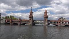 Oberbaumbrucke , Oberbaum Bridge, River Spree, Berlin Stock Footage