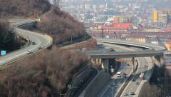 Multi-level junction for intensive traffic in modern big city Stock Footage