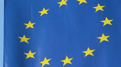 EU, European Union flag waving at summit meeting in Brussels Stock Footage