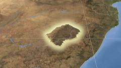 Lesotho on maps - outlined and glowed. Neighbourhood. Set of animations. Stock Footage