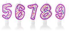 Stock Photo of Candles: Five Through Nine Birthday Candles