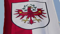 Flag with Tyrol coat of arms waving in wind, state of Austria Stock Footage