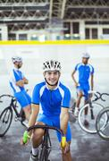 Portrait of track cyclist in velodrome Stock Photos