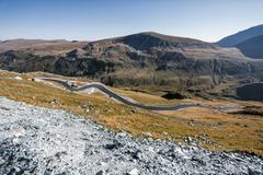 Transalpina the highest altitude road crossing the Caphatian mountains in Rom Stock Photos