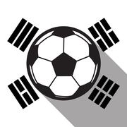 football icon with South Korea flag background,long shadow vector - stock illustration