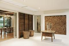 Wood accents in luxury foyer - stock photo