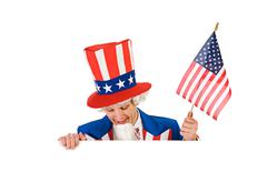 Stock Photo of USA: Uncle Sam Looking Down Over White Card