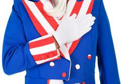 USA: Uncle Sam Doing Pledge Of Allegiance Stock Photos