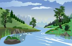 River flowing through hills - stock illustration