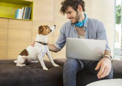 Man petting dog in office - stock photo